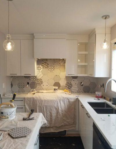 Carrelage Rive-Sud - Avancement de mur de cuisine